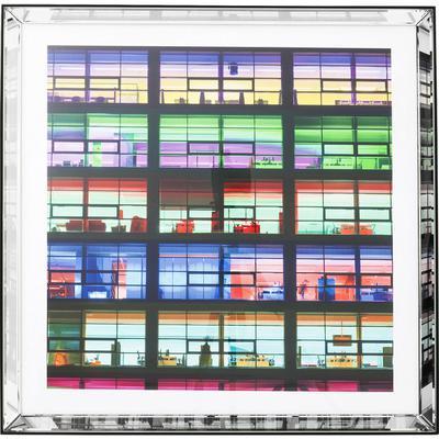 Cuadro espejo Frame Office verde 80x80cm