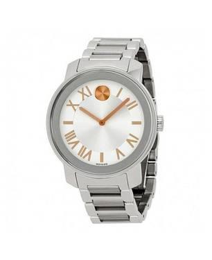 Reloj análogo blanco-plateado 0196