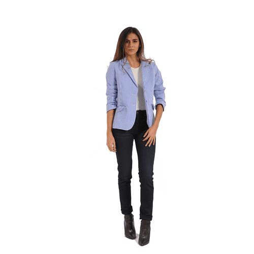 Blazer Color Siete Para Mujer - Azul