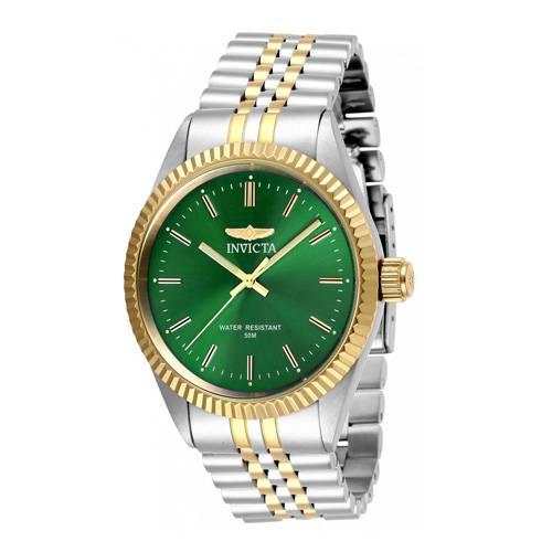 Reloj quartz verde-acero dorado 9379