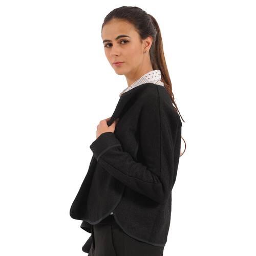 Blazer Tipped Color Siete Para Mujer - Negro