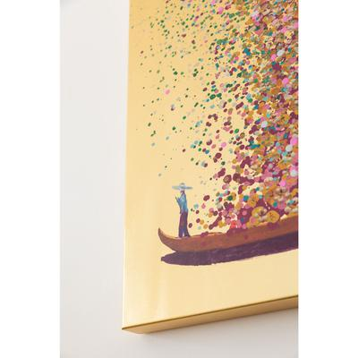Cuadro Flower Boat oro rosa 100x80cm