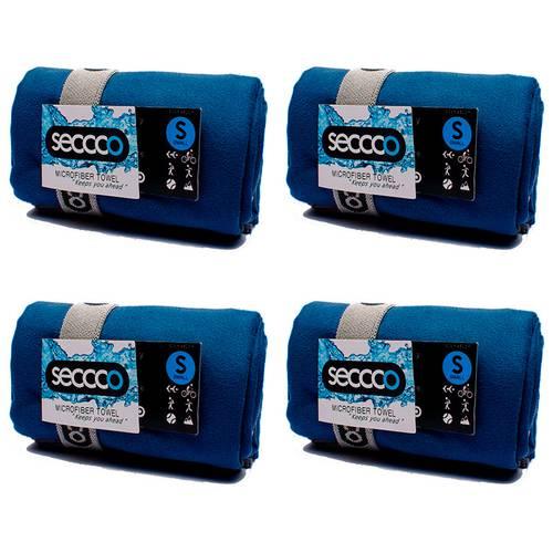 SetX 4 Toallas de Microfibra Azul Oscuro S