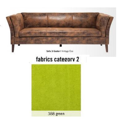Sofá Canapee, 3 puestos, tela 2 - 388 green  (160x73x79cms)