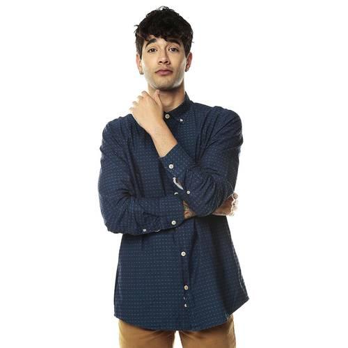 Camisa Manga Larga Rosé Pistol Para Hombre - Azul