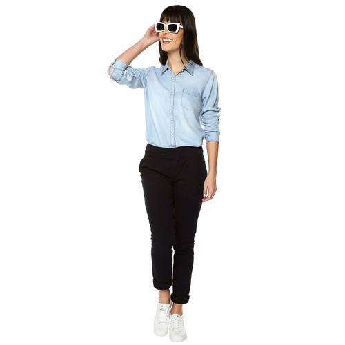 Pantalón Violette Color Siete Para Mujer  - Azul
