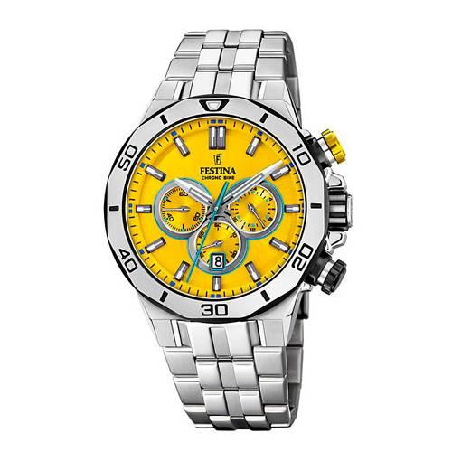Reloj analógico amarillo-acero 48-A