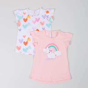 Camiseta manga corta paquete x 2 Little Girl