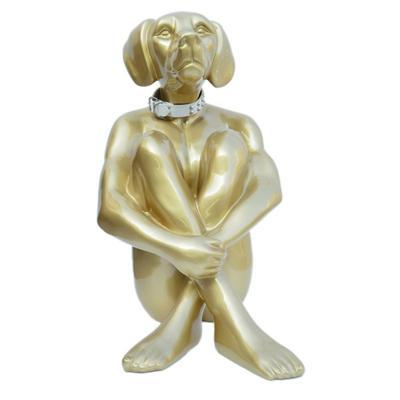 Objeto decorativo Sitting Dog oro 80cm