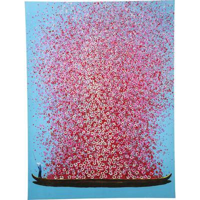 Cuadro Flower Boat azul rosa 160x120cm