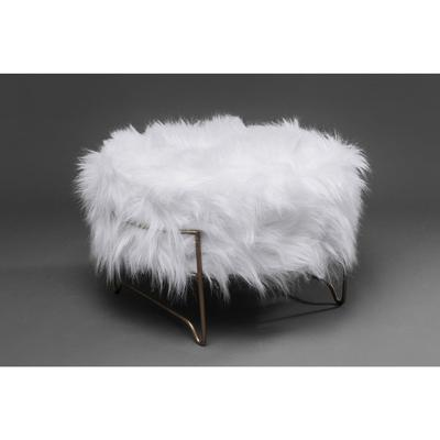 Taburete Cottage White Fur cobre Ø55cm