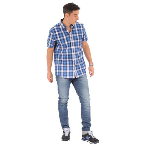 Camisa Manga Corta Greenport Jack Supplies para Hombre- Azul