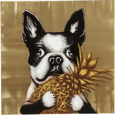 Cuadro Dog with Pineapple 80x80c