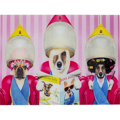 Cuadro cristal Dogs Day Salon 80x60