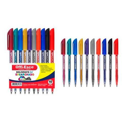Bolígrafo Gel Escarchado X10 Unidades