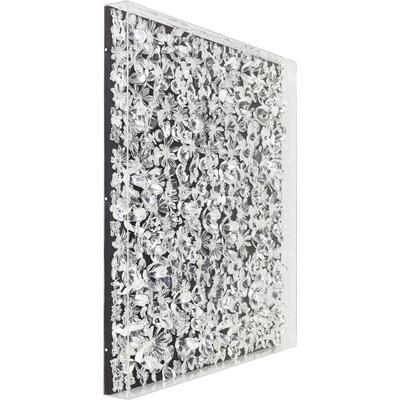Cuadro Flower plata 100x100cm
