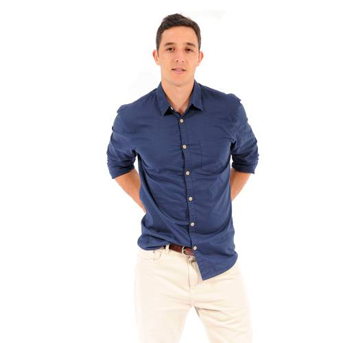 Camisa Manga Larga Leroy Color Siete para Hombre - Azul