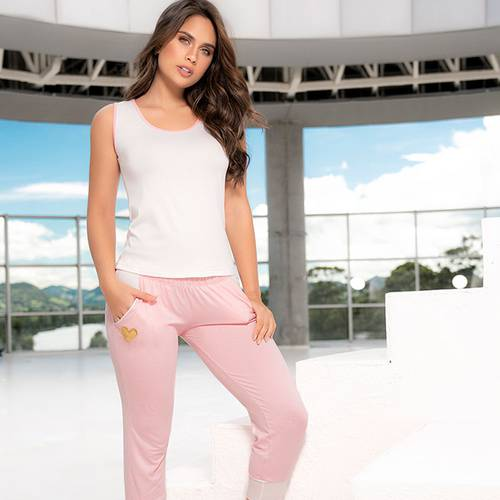 Pijama Pantalón Capri Rosado 7803