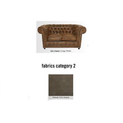 Sofá Cambridge, 2 puestos, tela 2 - Nobuko 516 charoal  (160x76x92cms)