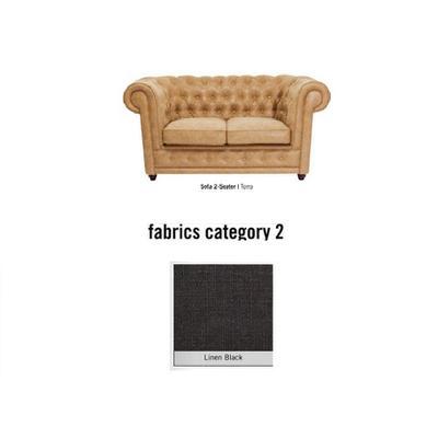 Sofá Oxford, 2 puestos, tela 2 - Linen Black  (160x76x92cms)