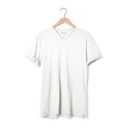 Camiseta Cuello V Color Siete Para Hombre - Blanco