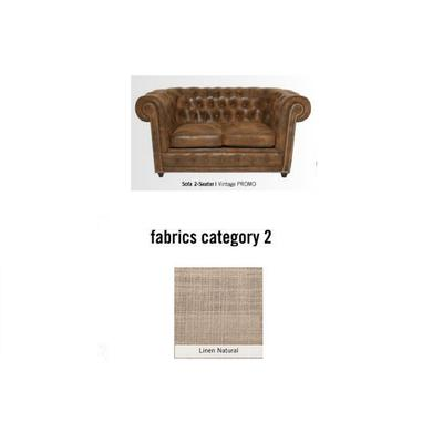 Sofá Cambridge, 2 puestos, tela 2 - Linen Natural  (160x76x92cms)