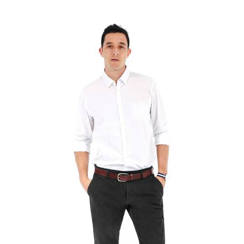 Camisa Manga Larga Reade Color Siete para Hombre - Blanco