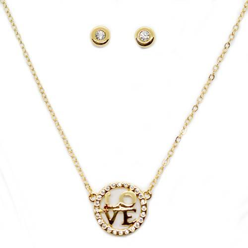 Collar + Aretes Love State 082295 Oro - Tessor