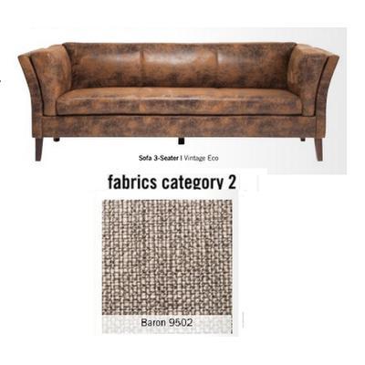 Sofá Canapee, 3 puestos, tela 2 - Baron 9502 (160x73x79cms)