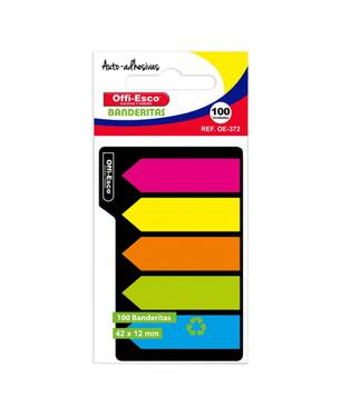 Banderitas Plásticas Removibles Pqt X 100 Hj Varios Colores -372 - Offi-Esco