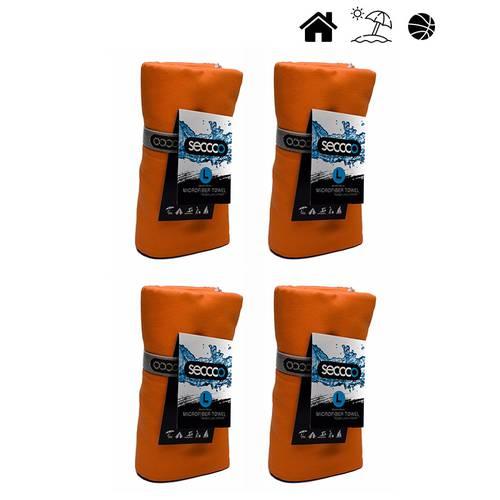 Set X 4 Toallas De Microfibra Marca Talla L Naranja Llan - SECCCO