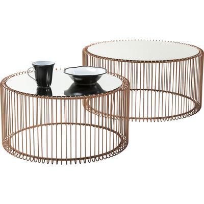 Mesa centro Wire cobre (2/set)