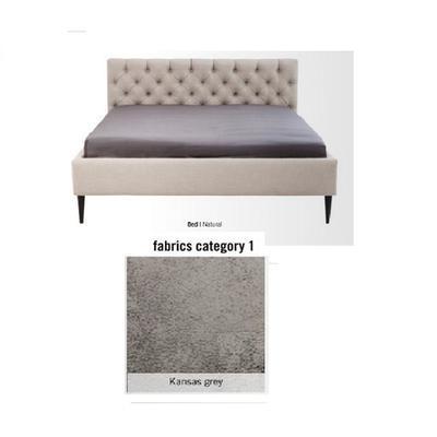 Cama Nova, tela 1 - Kansas Grey,   (85x180x215cms), 160x200cm (no incluye colchón)