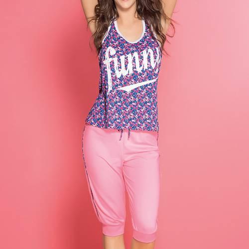 Pijama Capri Jogger Y Camiseta 71626 Rosa Malteado