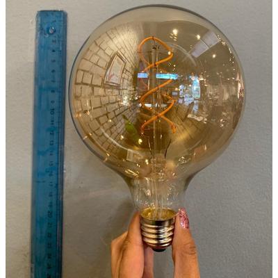 Globo amarillo LED en espiral grande E27