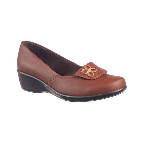 Zapato Confort Para Mujer En Cuero Miel