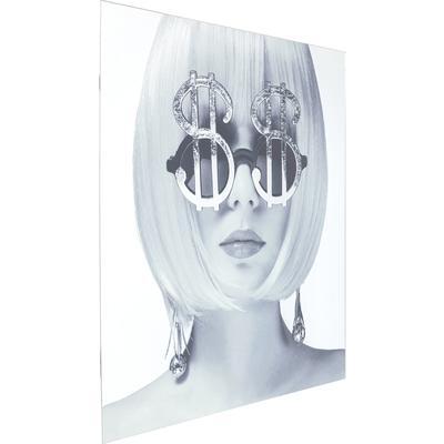Cuadro cristal Metallic Dollar Girl 120x120cm