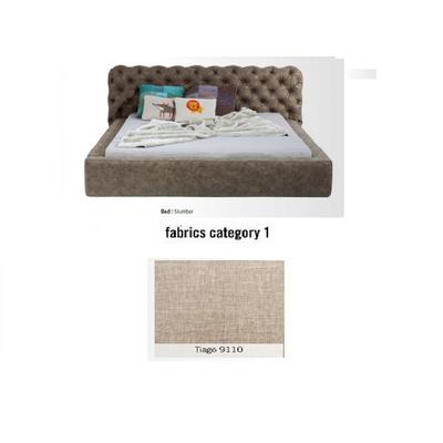 Cama Slumber, tela 1 - Tiago 9110,   (82x228x239cms), 180x200cm (no incluye colchón)