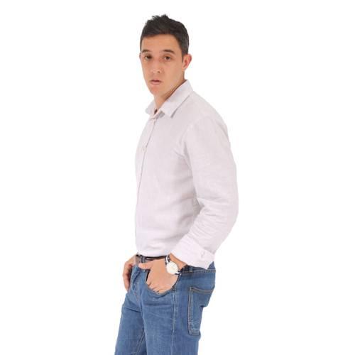 Camisa Manga Larga Wooster Color Siete Para Hombre - Blanco