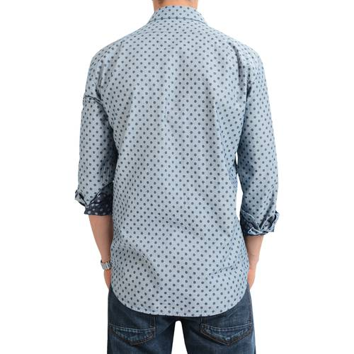 Camisa Manga Larga Leroy Jaquard Color Siete para Hombre - Gris
