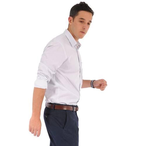Camisa Manga Larga York Color Siete para Hombre - Blanco