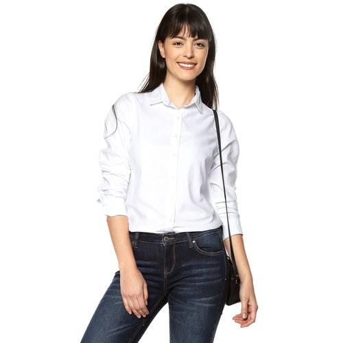 Camisa Basica Manga Larga Color Siete Para Mujer - Blanco