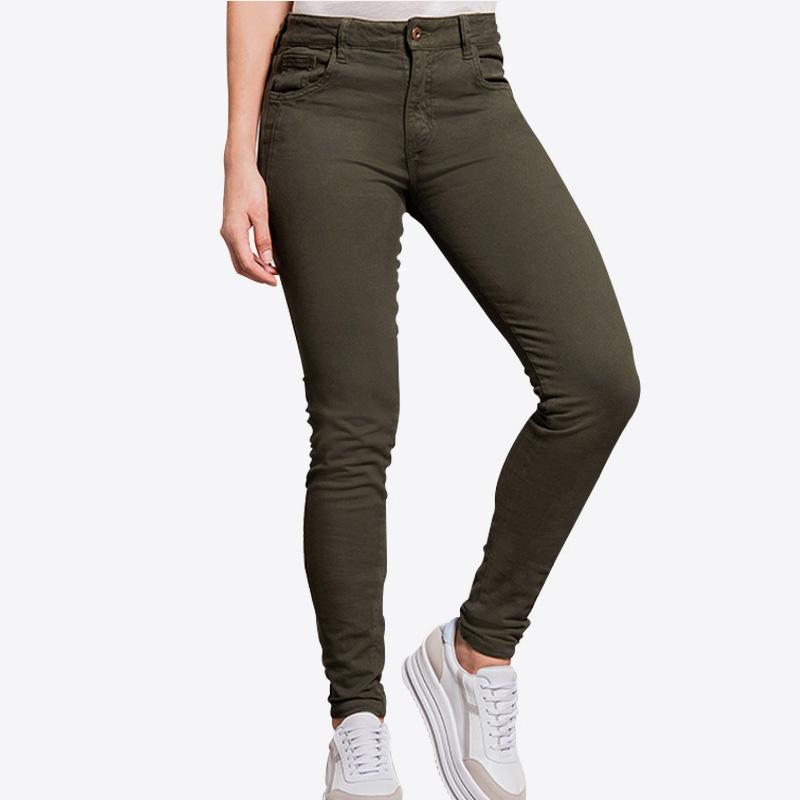 Pantalón Ajustado Con Tela Efecto Durazno - Verde